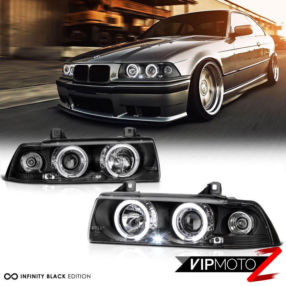 1992 1998 bmw e36 3 series 2d coupe black halo angel eye projector headlights ebay. Black Bedroom Furniture Sets. Home Design Ideas