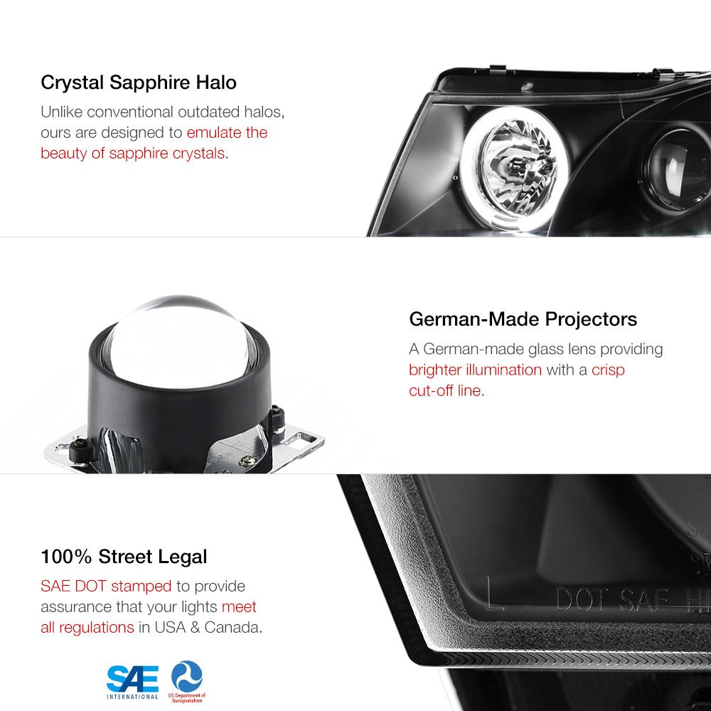 2011 2015 Chevy Cruze Black Halo Projector Led Headlight