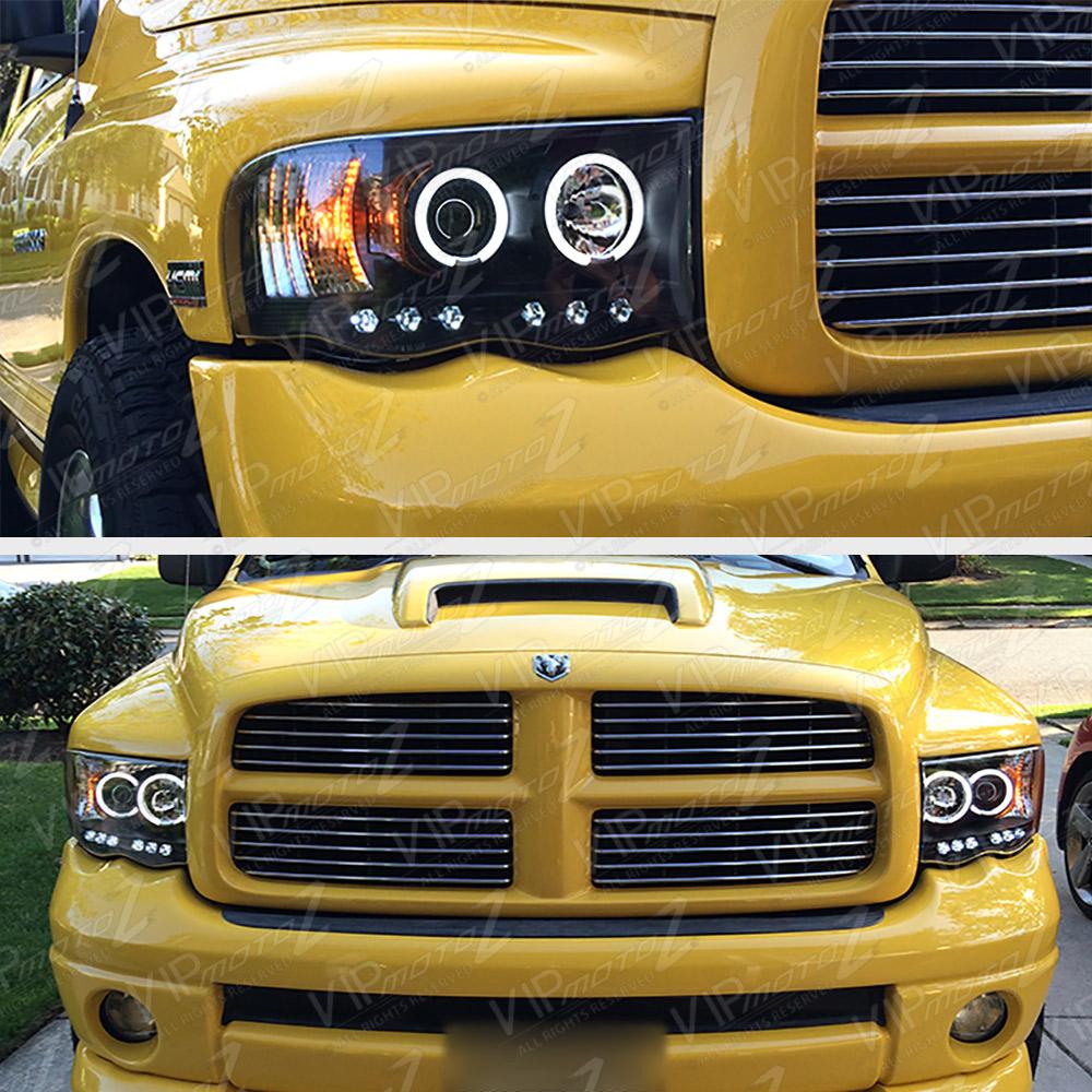 2002-2005 Dodge Ram 1500 Black Halo LED Projector Head