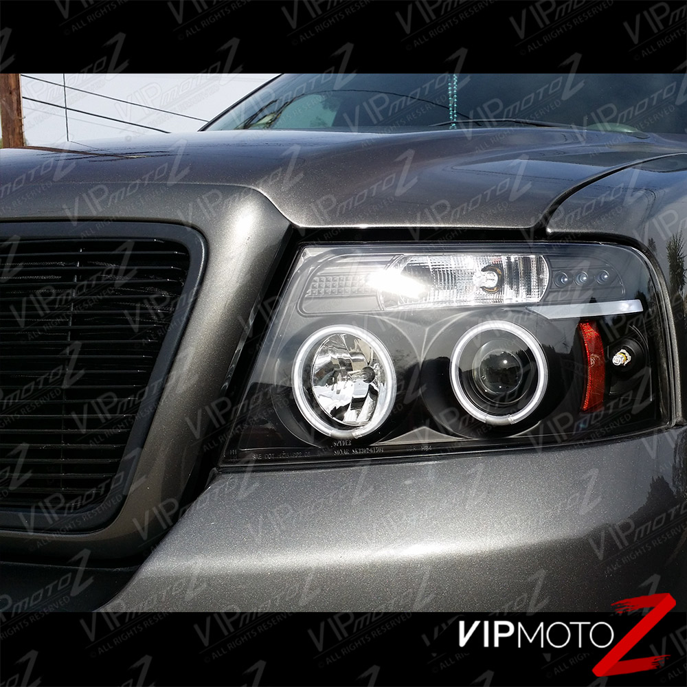 2004-2008 Ford F150 F-150 LOBO Black [HALO LED] Projector