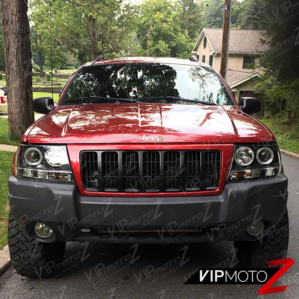 1999 2004 Jeep Grand Cherokee Wj Wg Black Led Halo Angel Eye Projector Headlight Cad 169 93