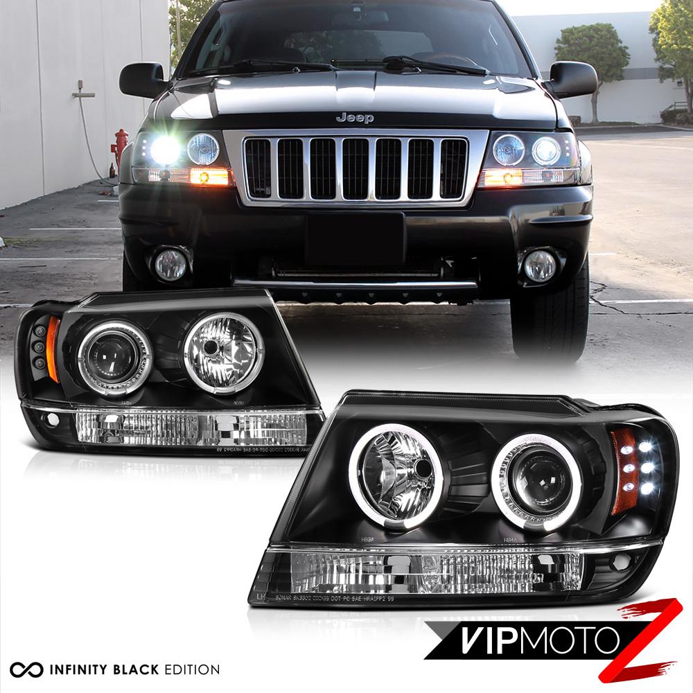 99 Jeep Laredo >> 1999-2004 Jeep Grand Cherokee WJ WG Black LED Halo Angel Eye Projector Headlight | eBay