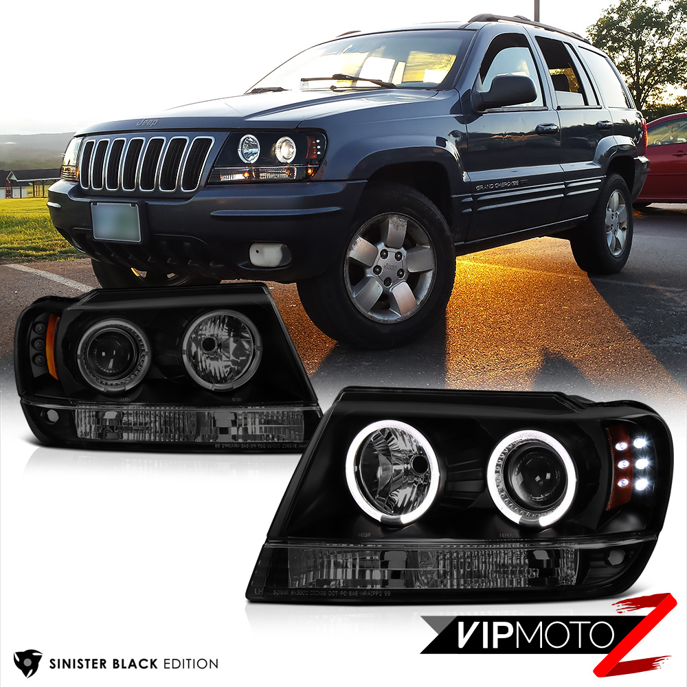 Limited Sinister Black 1999 2004 Jeep Grand Cherokee Wj Wg Halo Led Headlights