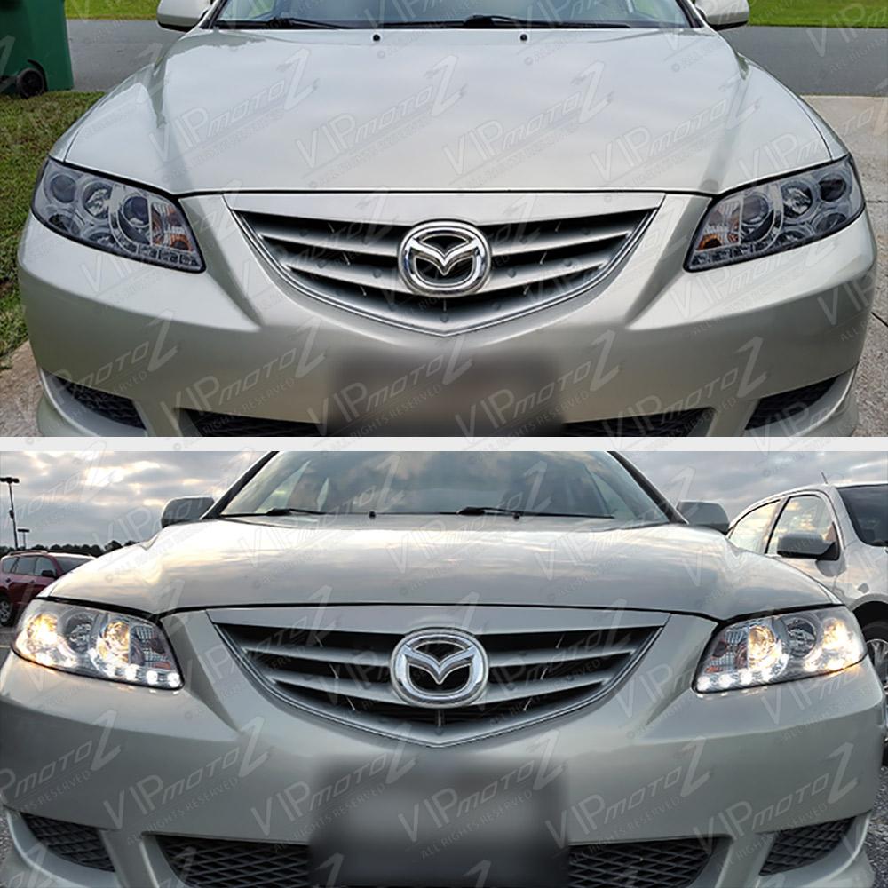 2005 Mazda Mazda6 Exterior: New Halo Angel Eye Smoke Projector Headlight LED DRL Lamp