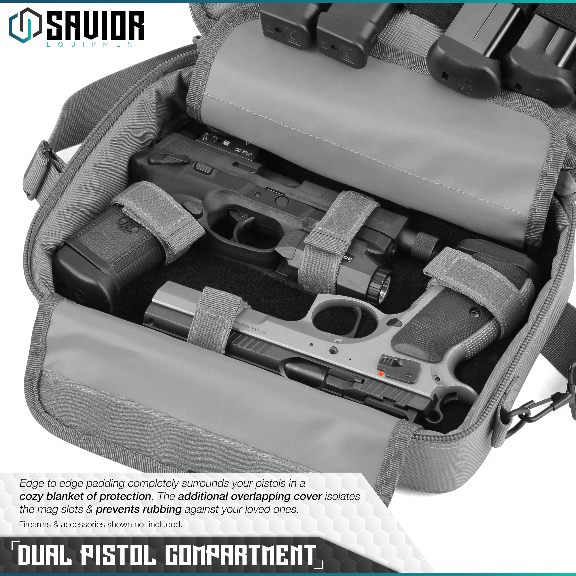 "/""SAVIOR/"" Padded Discreet Double Handgun Bag Pistol Storage Case w//Mag Pouch Slot"