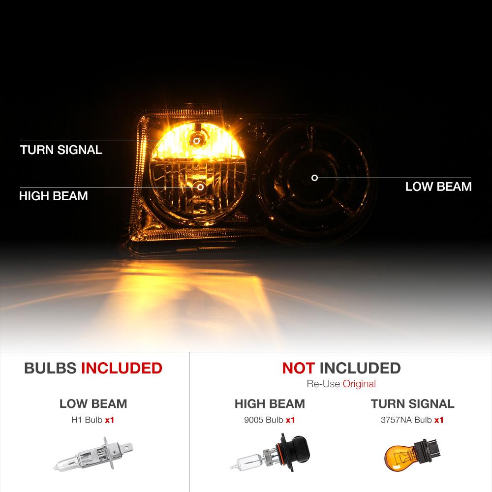 2005 2006 2007 Chrysler 300c Srt8 Clear Black Headlights: 2005-2010 Chrysler 300C FACTORY STYLE Projector Headlights