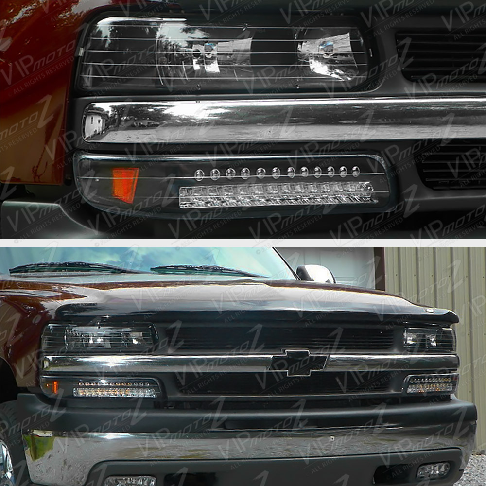built in led 1999 2002 silverado 00 06 suburban tahoe black bumper headlight ebay