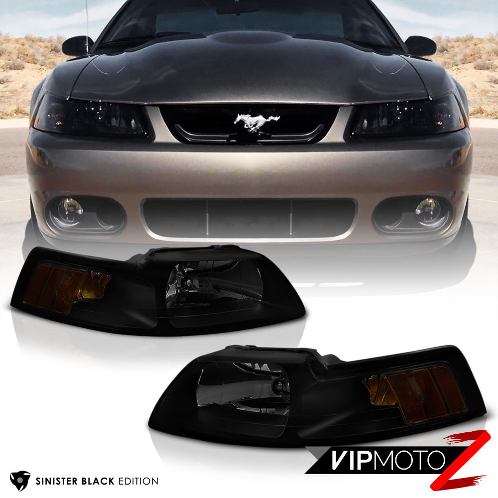 1999 2000 2001 2002 2003 2004 ford mustang black smoke front headlights lamp. Black Bedroom Furniture Sets. Home Design Ideas