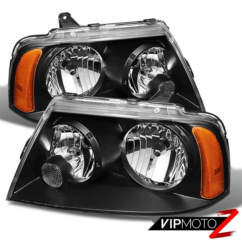 2003 2006 lincoln navigator base ultimate black front headlights assembly pair ebay. Black Bedroom Furniture Sets. Home Design Ideas
