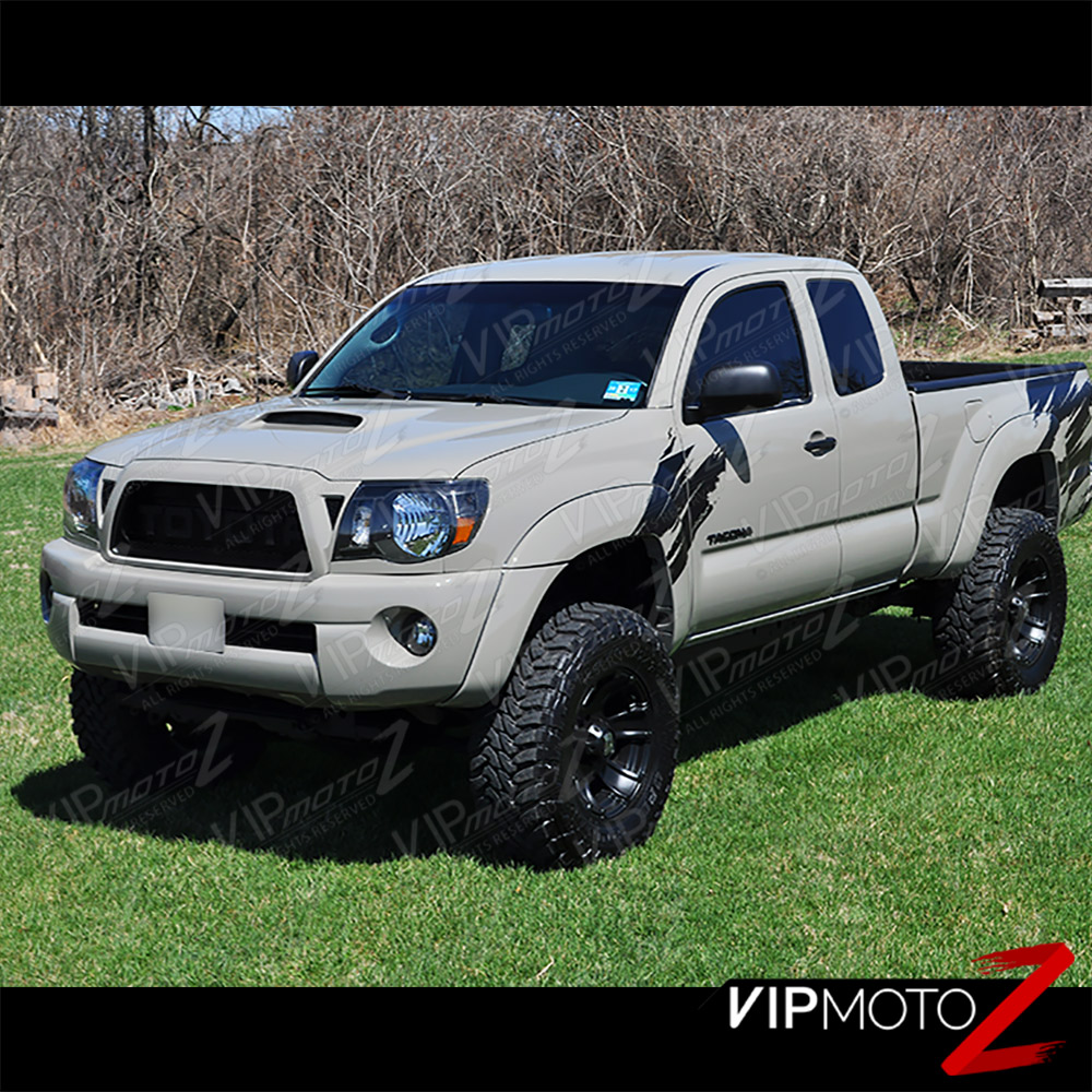 2005 2011 toyota tacoma trd style black front headlights head lamp pre runner. Black Bedroom Furniture Sets. Home Design Ideas