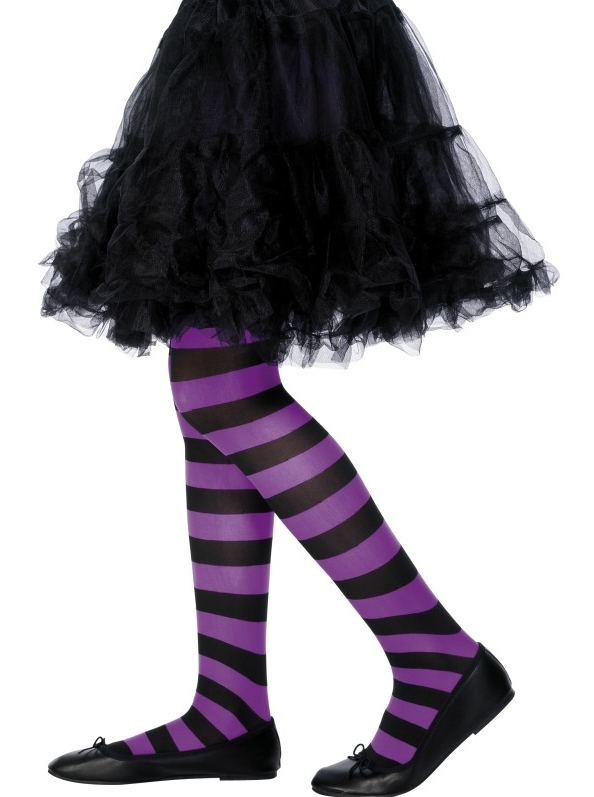 NEW-GIRLS-KIDS-CHILDRENS-STRIPED-TIGHTS-FANCY-DRESS-Ideal-for-Halloween-Witch