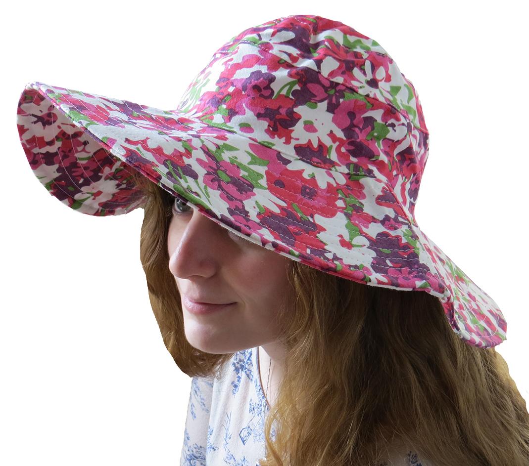 Hampton Direct Flower Travel Sun Hat With Pink & Orange Flowers at Sears.com