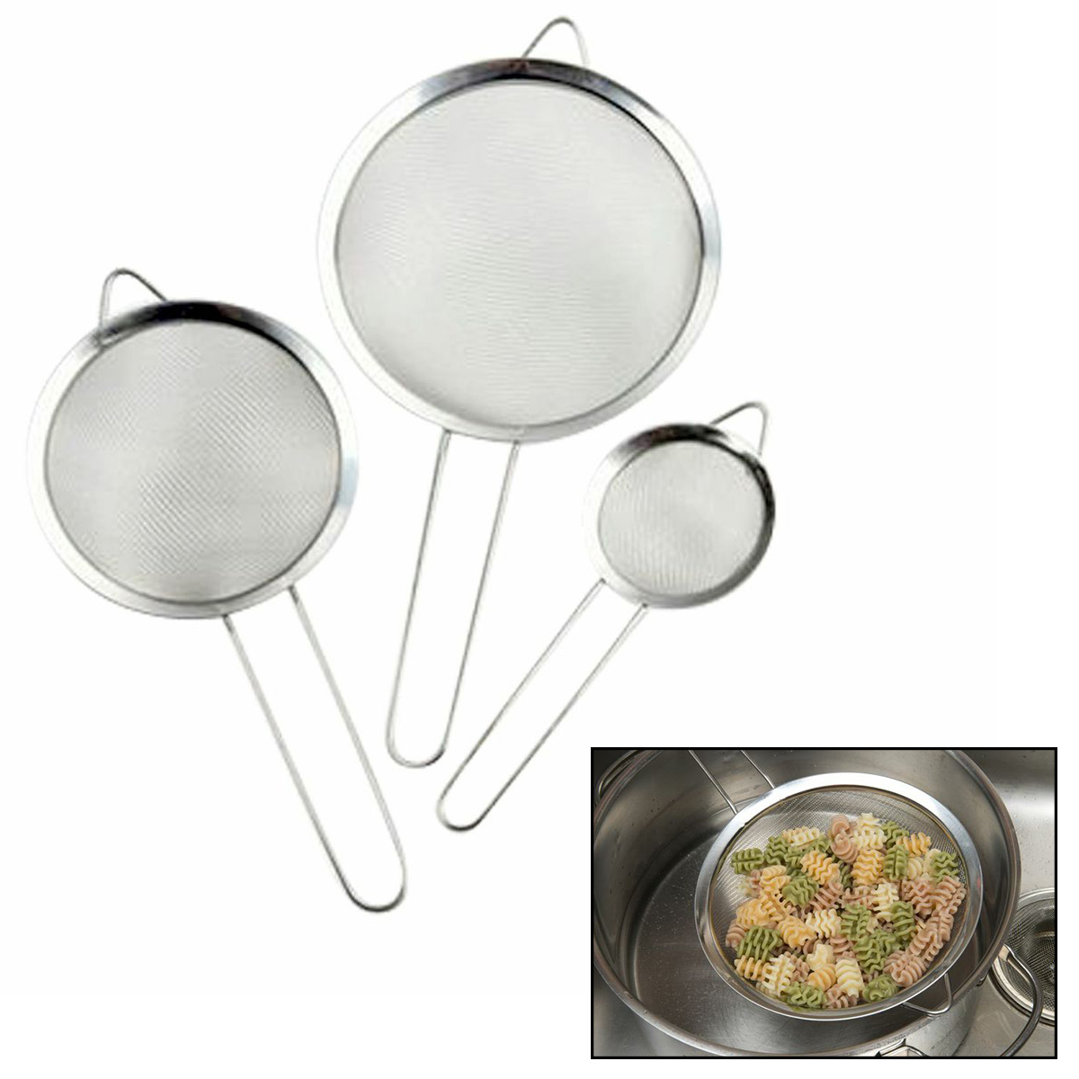 Evelots Set Of 3 Stainless Steel Mesh Strainers For Kitchen Food Rice Pasta By Evelots at Sears.com