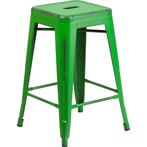 24/'/' High Backless Distressed Green Metal Indoor Counter Height Stool FLAETBT350