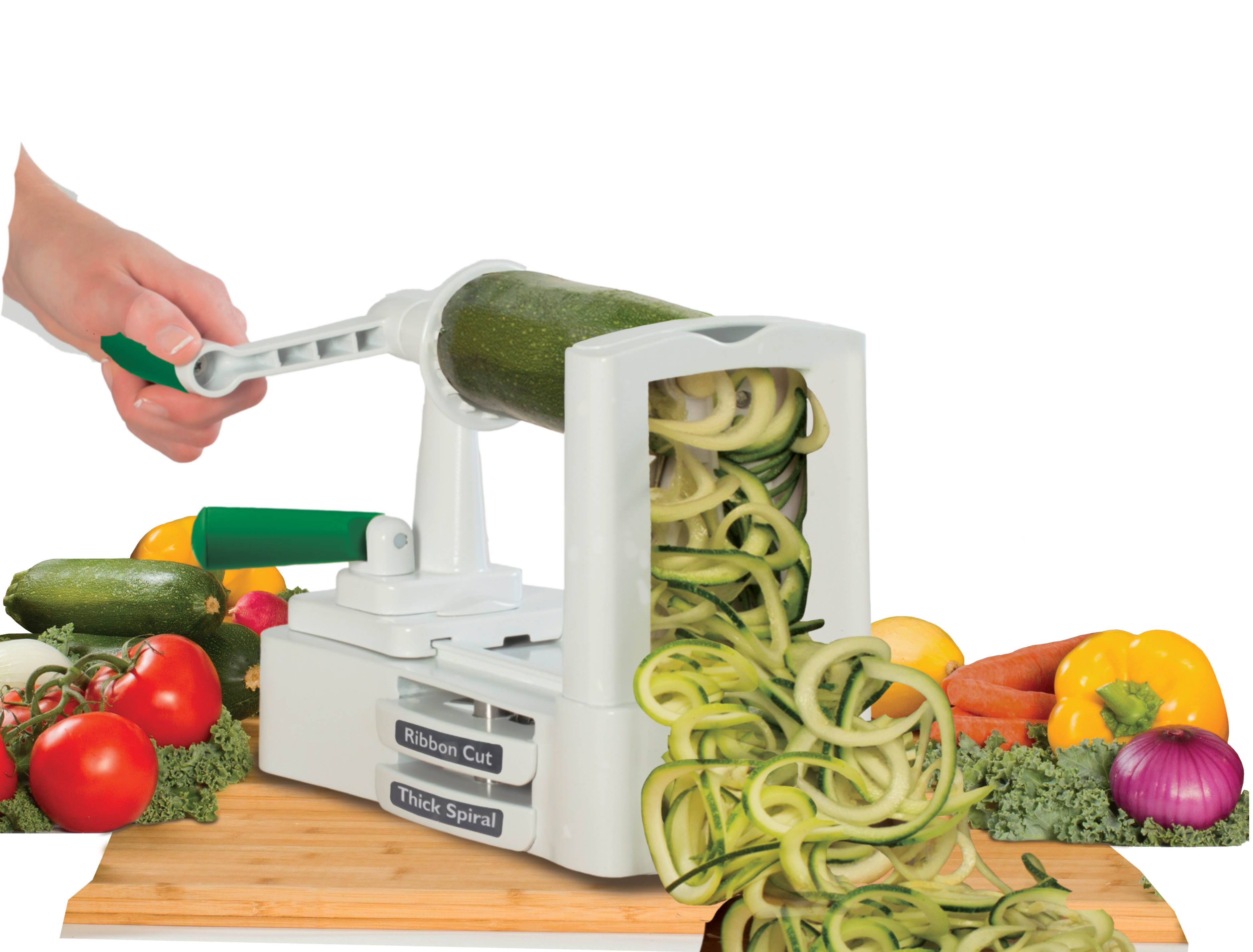 how to spiral cut vegetables into noodles