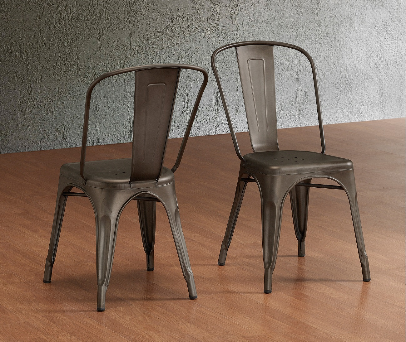 Set Of 4 Metal Steel Stools Vintage Antique Style Counter Stool Stackable Hd Ebay