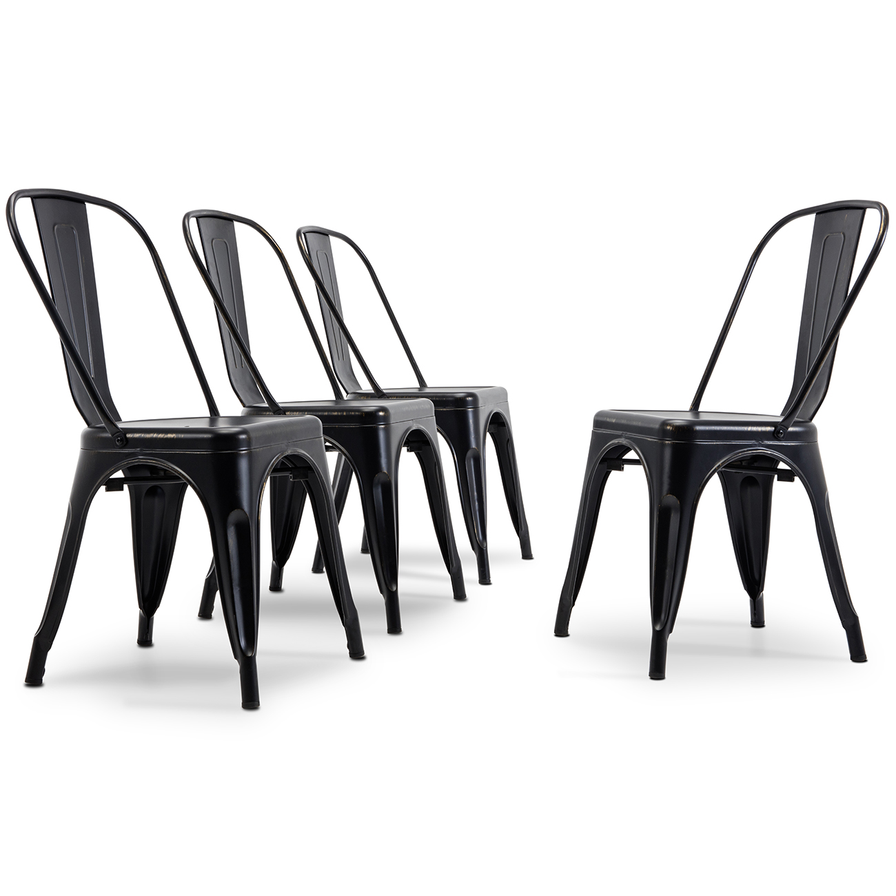 Set Of 4 Vintage Style Stackable Dining Chairs Steel
