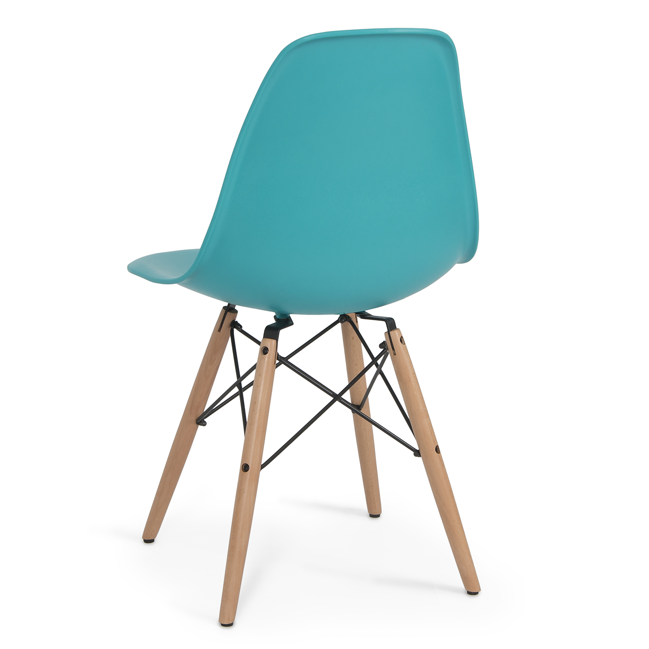 set of 4 dsw dowel eames molded abs chair natural wooden