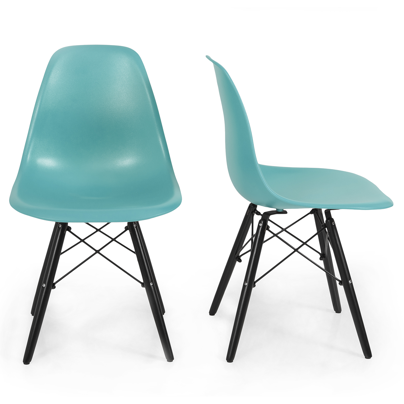 set of 2 mid century modern style dsw dining side chair wood legs blue ebay. Black Bedroom Furniture Sets. Home Design Ideas