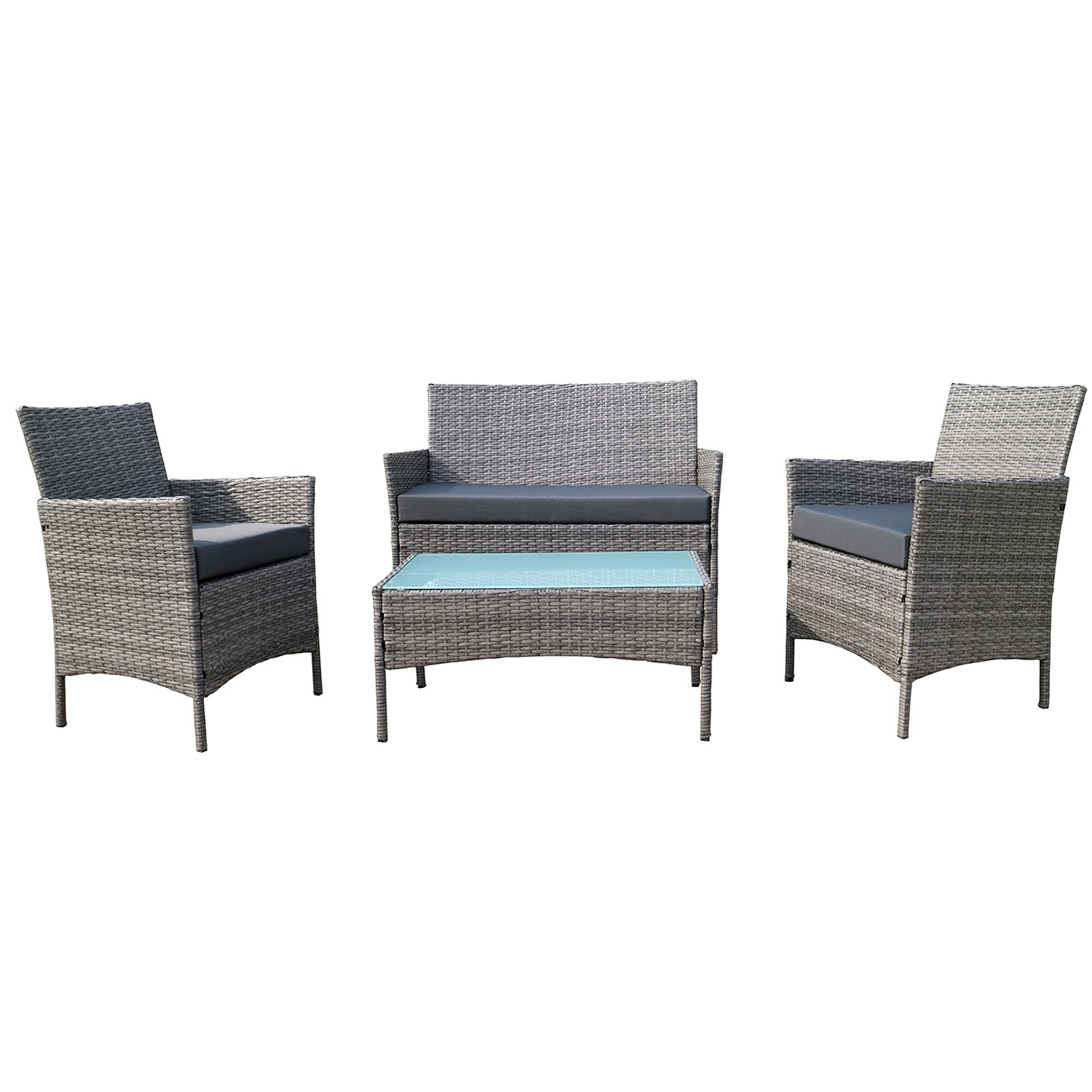 4 pc rattan furniture set outdoor patio garden sectional pe wicker cushion sofa ebay. Black Bedroom Furniture Sets. Home Design Ideas
