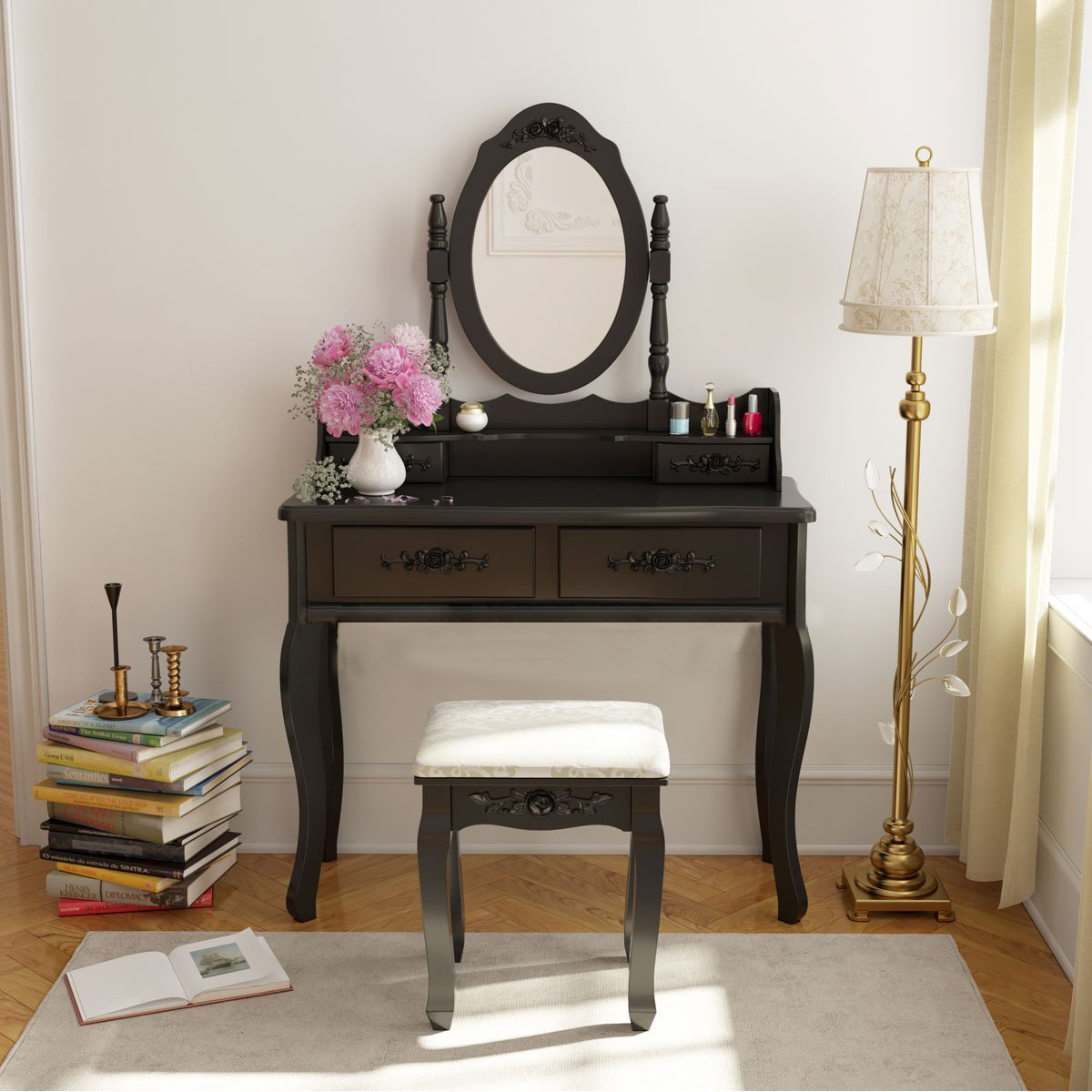 Vanity makeup dressing jewelry 4 drawer table set w stool for Black makeup table with mirror