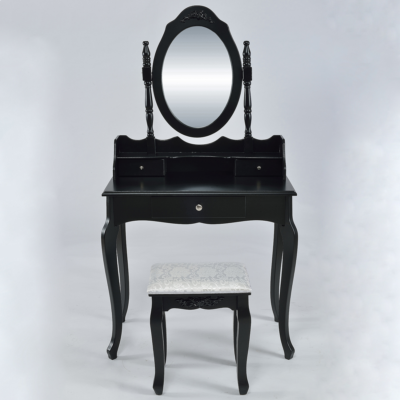NEW 3 Drawer Mirror Makeup Vanity Table Set With Stool Jewelry Black