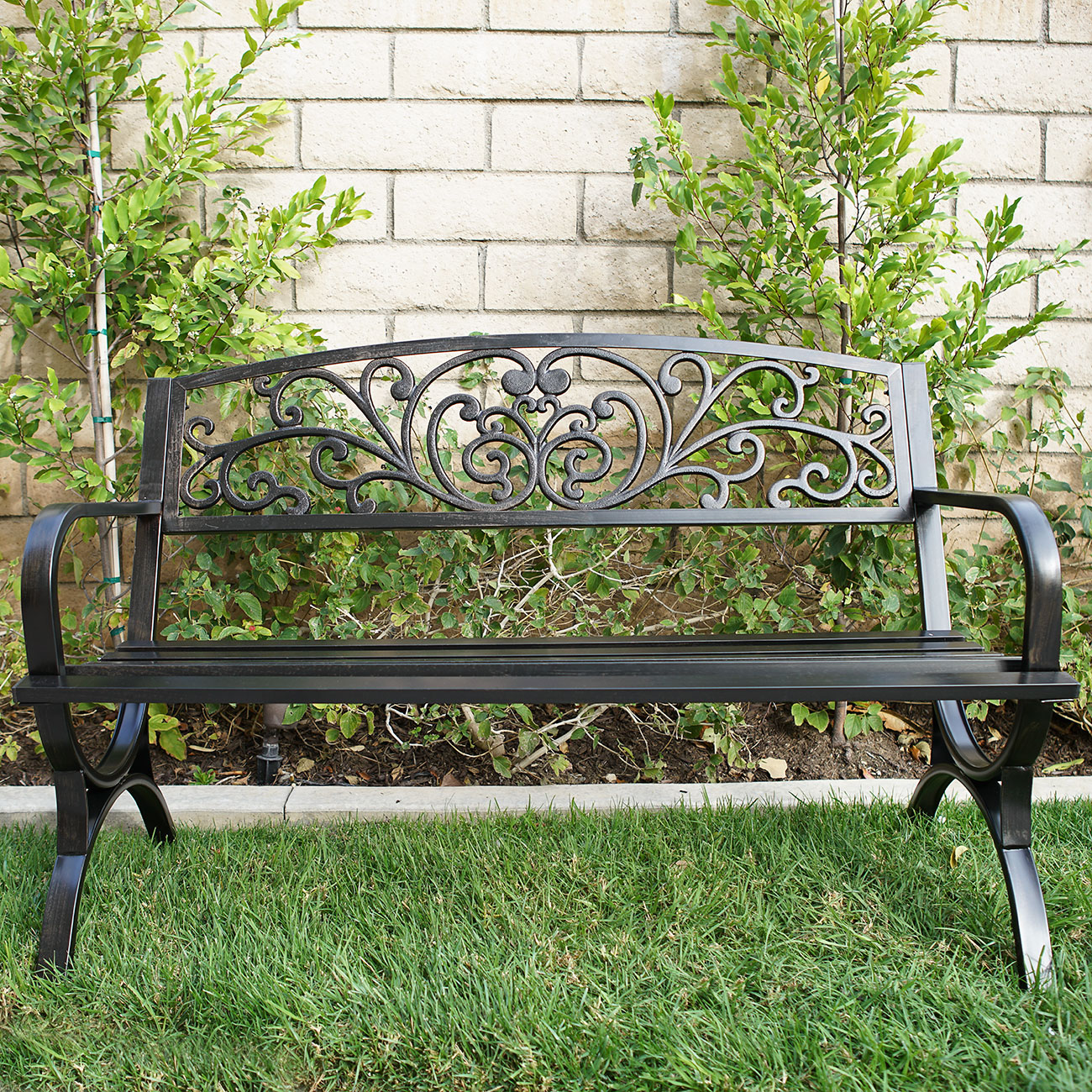 Outdoor bench patio metal garden furniture seat bronze ebay Garden benches metal