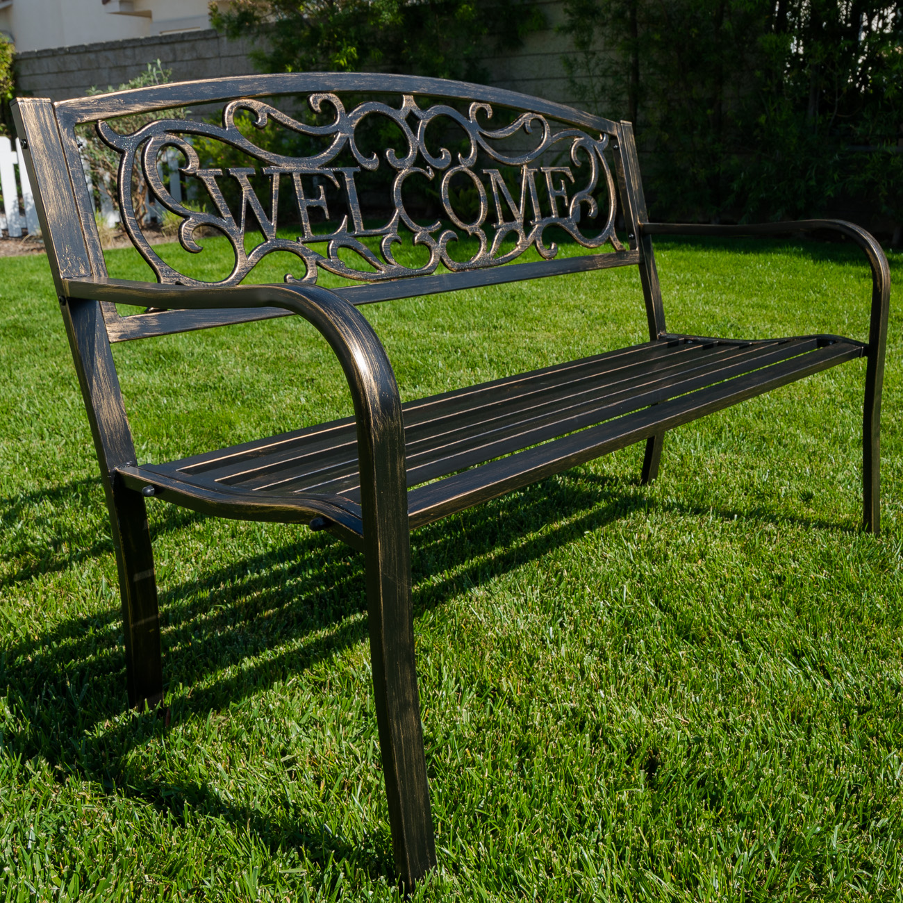 New 50quot inch outdoor garden bench patio furniture welcome for Oz design outdoor furniture