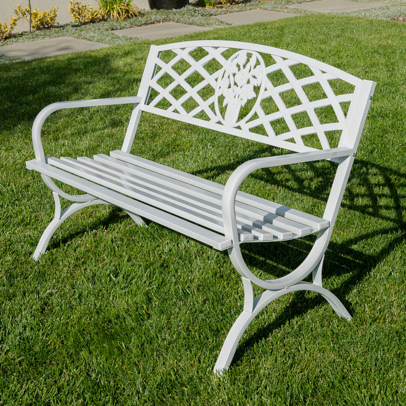 50 Outdoor Bench Patio Garden Furniture Backyard Park Porch Bronze White