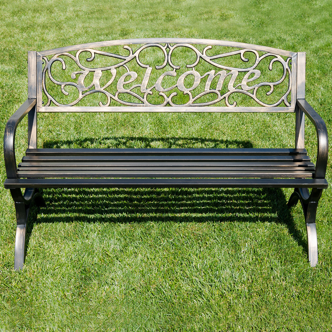 Elegance Welcome Design Outdoor Park Bench Backyard Yard 50 Bronze White