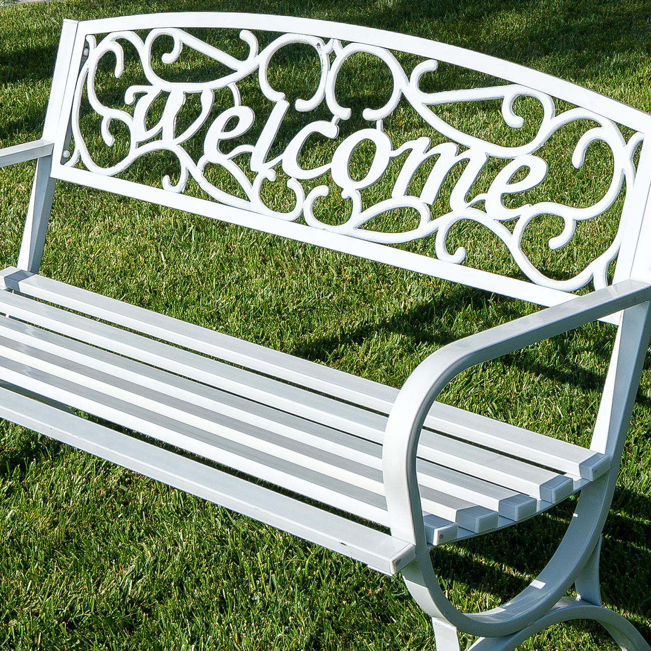 Elegance Welcome Design Outdoor Park Bench Yard Backyard 50 Inch Bronze White Ebay