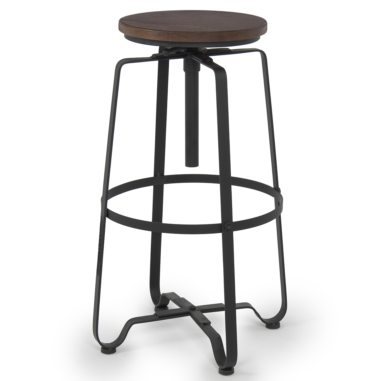 Industrial steel design adjustable height swivel bar stool for Industrial design bar stools