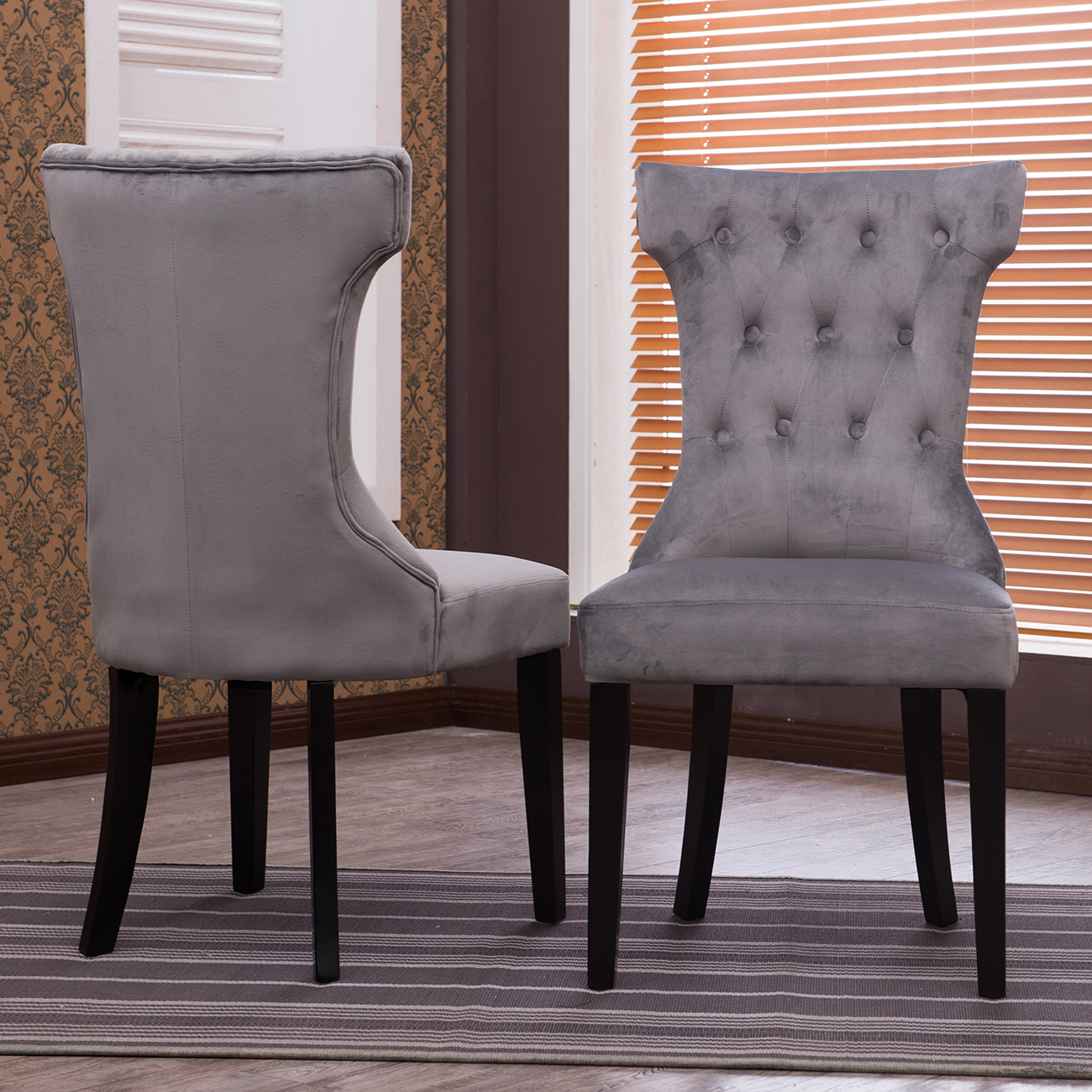 Dining Chair Set 2 Pair Accent Tufted Kitchen Modern Side: Set Of 2 Elegant Tufted Fabric Armless Side Chairs Modern