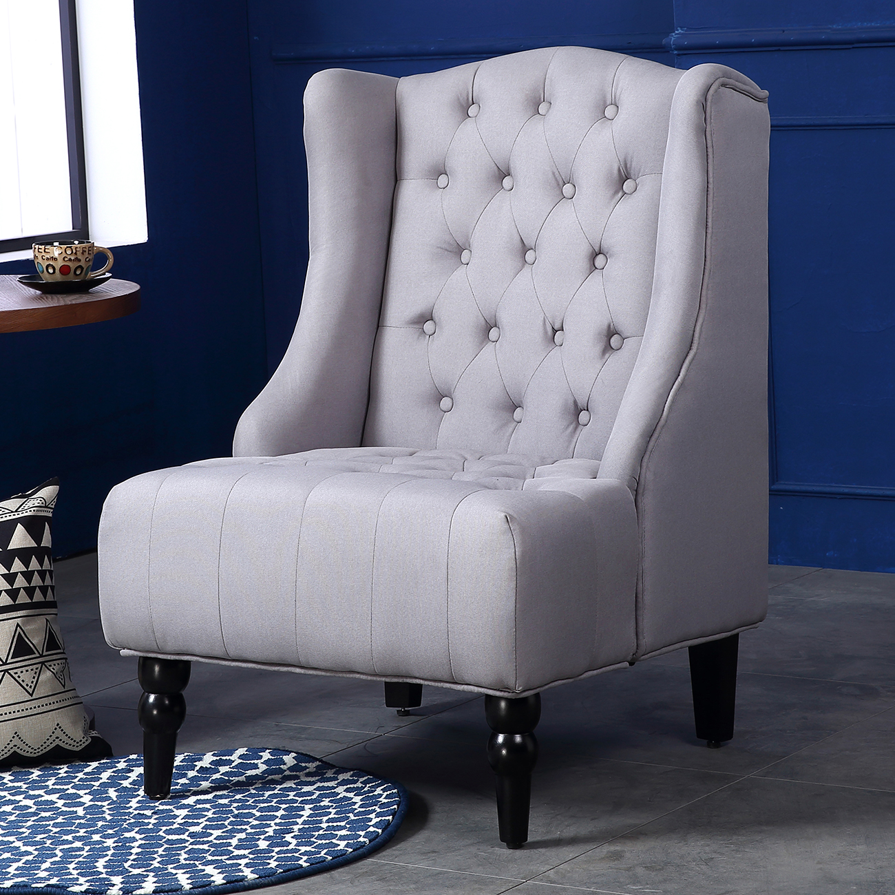Wingback accent chair tall high back living room tufted - High back living room chairs suppliers ...
