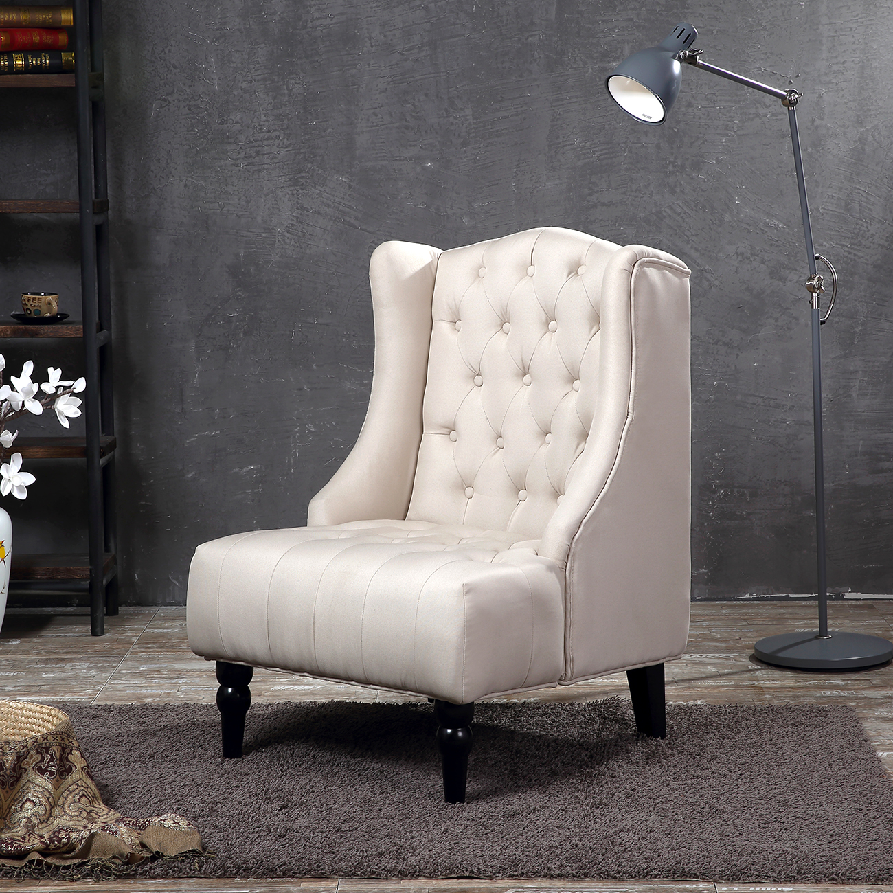 Wingback Accent Chair Tall High Back Living Room Tufted Nailhead