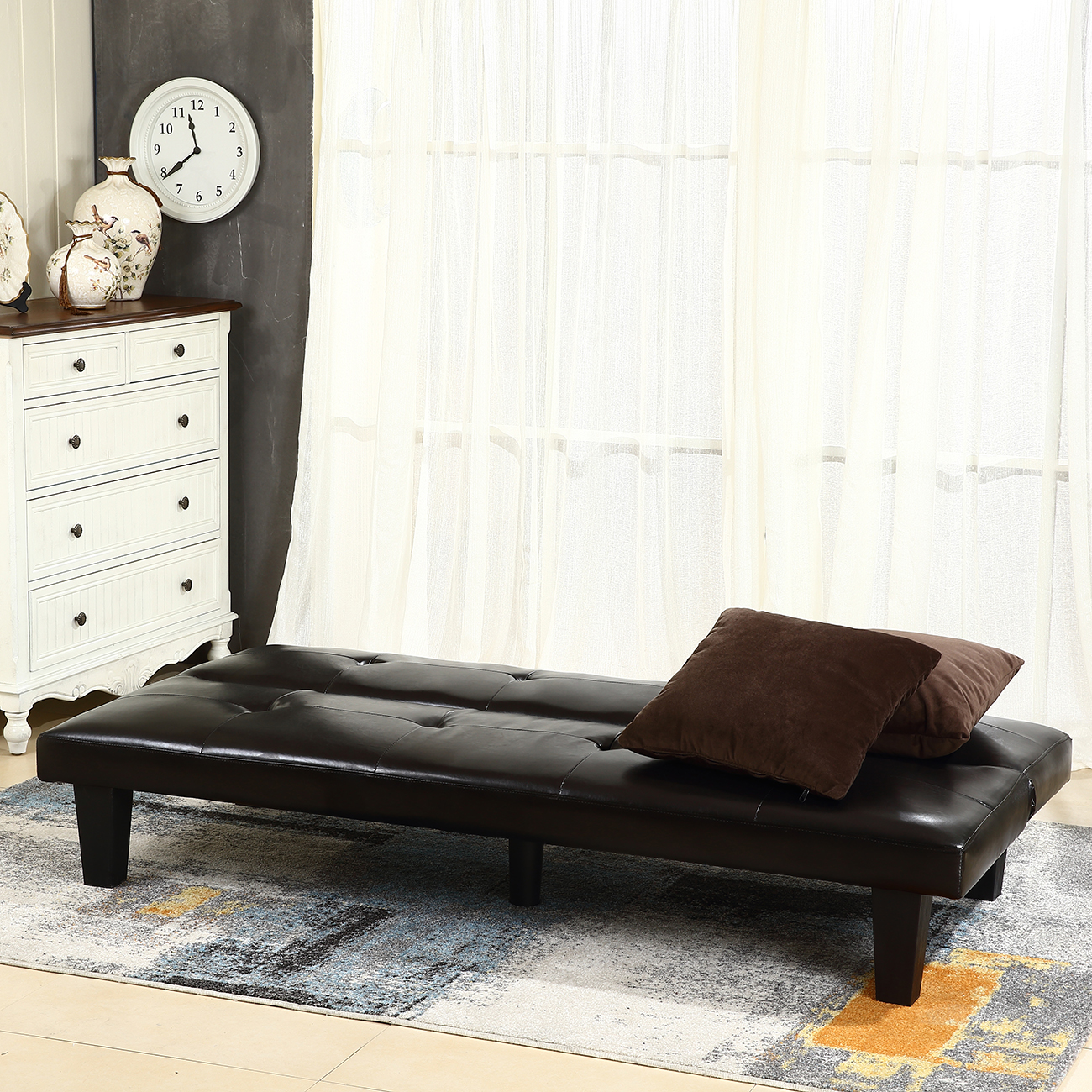 New Futon Sofa Bed Convertible Couch Loveseat Dorm Sleeper Lounge W 2 Pillow