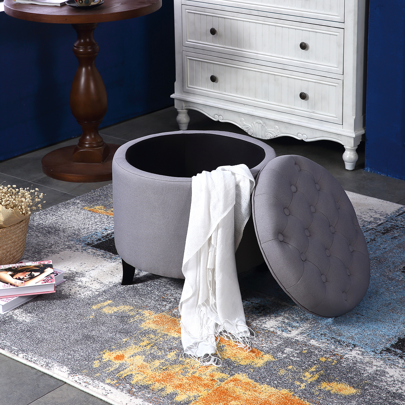 Oval Ottoman Coffee Table Gray: Elegant Fabric Tufted Button Ottoman Round Footstool