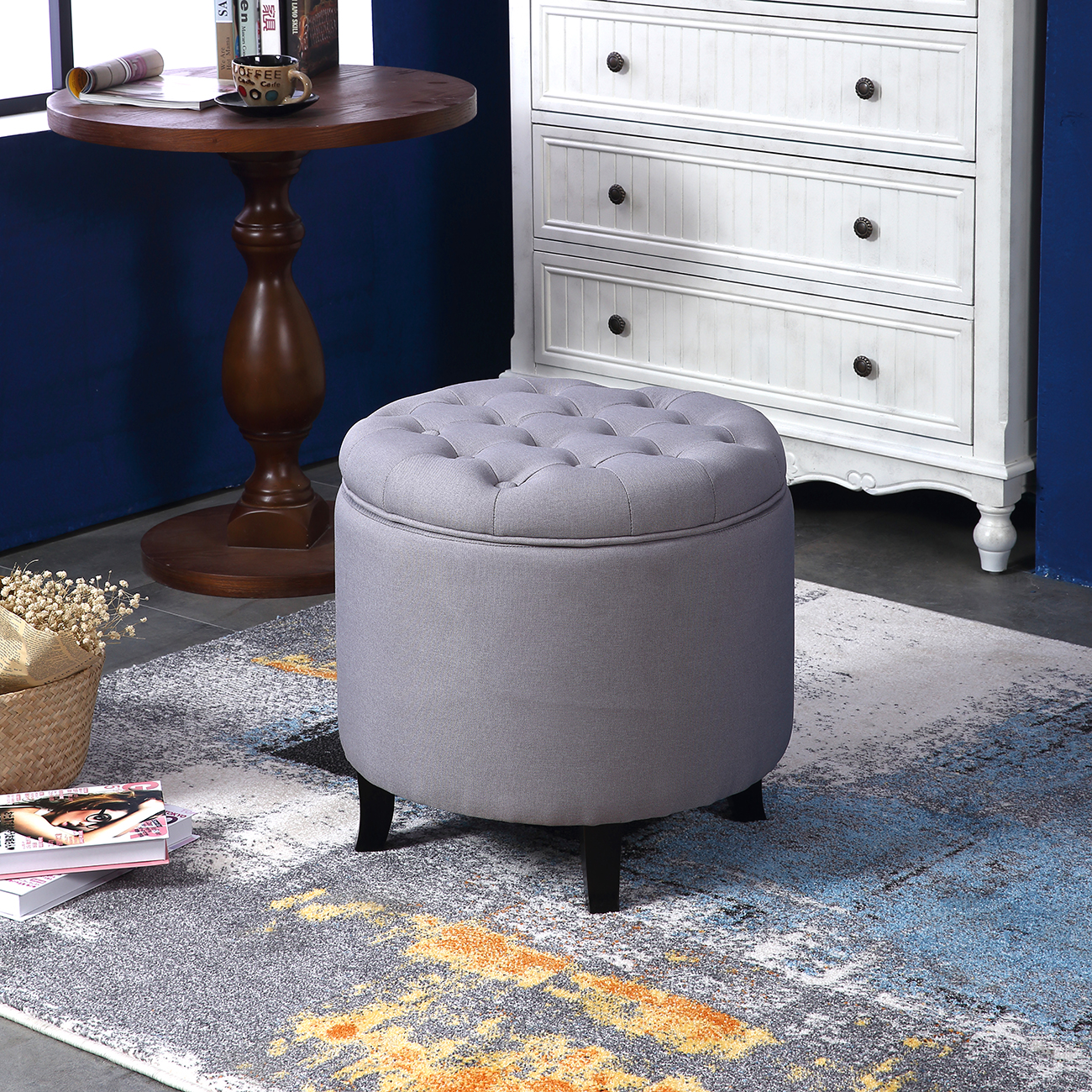 Coffee Table With Fabric: Elegant Fabric Tufted Button Ottoman Round Footstool