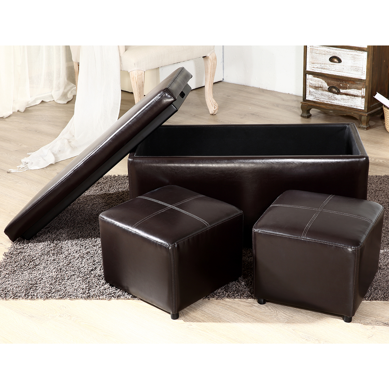 3pc contemporary brown black cream leather tray top nested storage ottoman bench. Black Bedroom Furniture Sets. Home Design Ideas