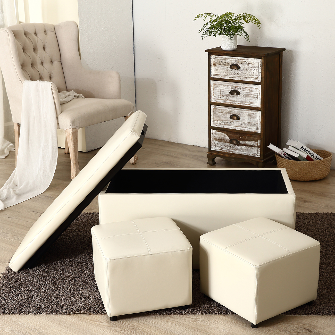 Storage Coffee Table With Tray: 3PC Ottoman Bench Storage Lid Tray Footrest Coffee Table