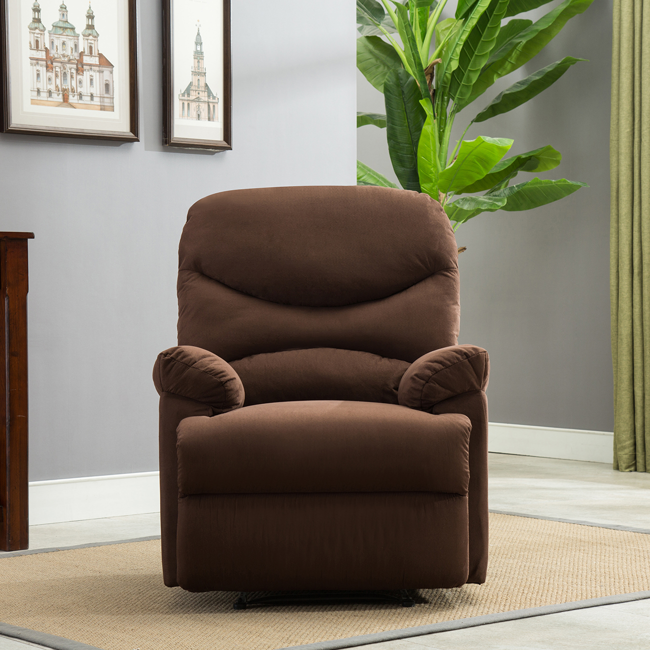Recliner Chair Microfiber Living Room Furniture Reclining Home Seat, Brown