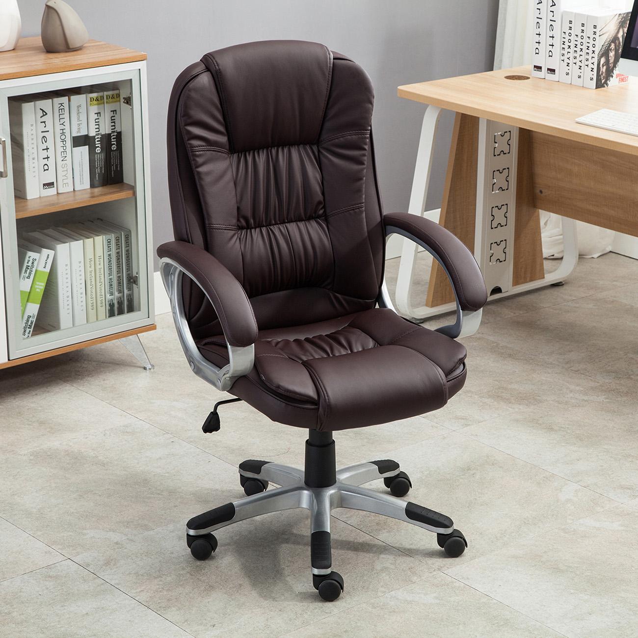 Black Brown White PU Leather Modern Executive Computer ...