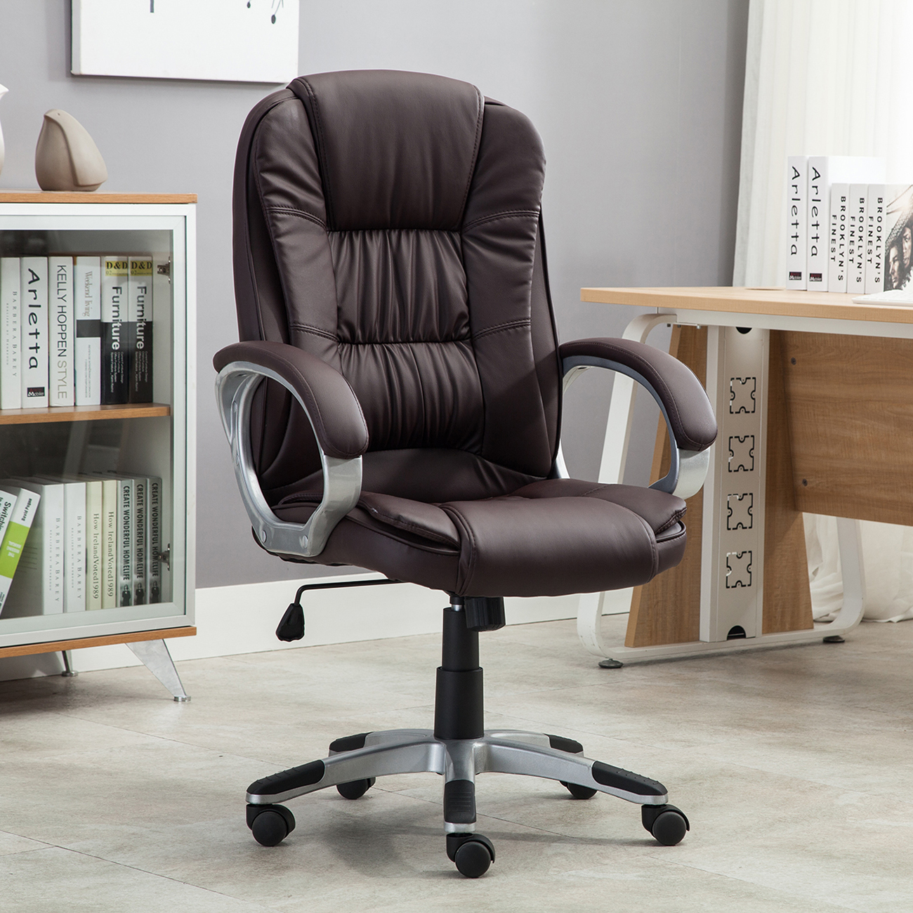 black brown white pu leather modern executive computer desk office