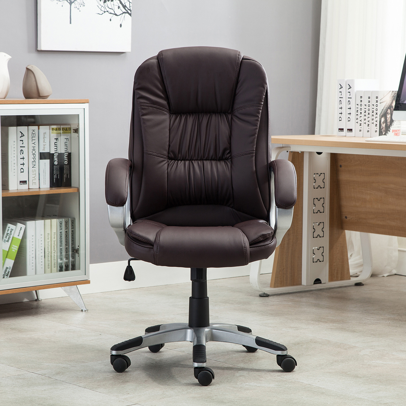 Black brown white pu leather modern executive computer for Modern white office chair
