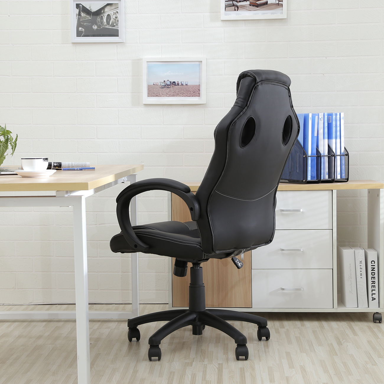 office chair ergonomic computer mesh pu leather desk seat race car styled racing ebay. Black Bedroom Furniture Sets. Home Design Ideas