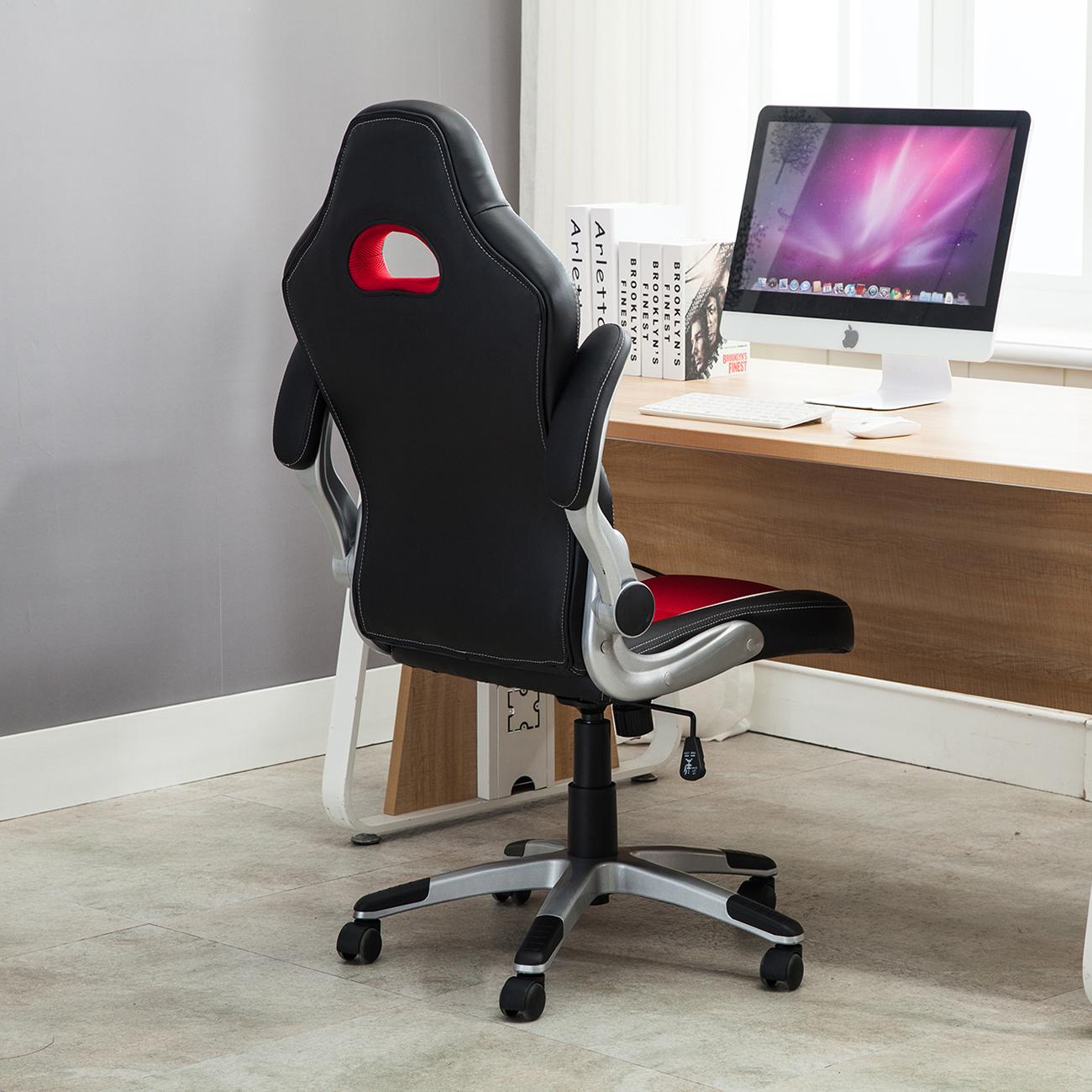 Office Racing Chair Bucket Seat High Back Ergonomic Gaming Computer Flip Armrest