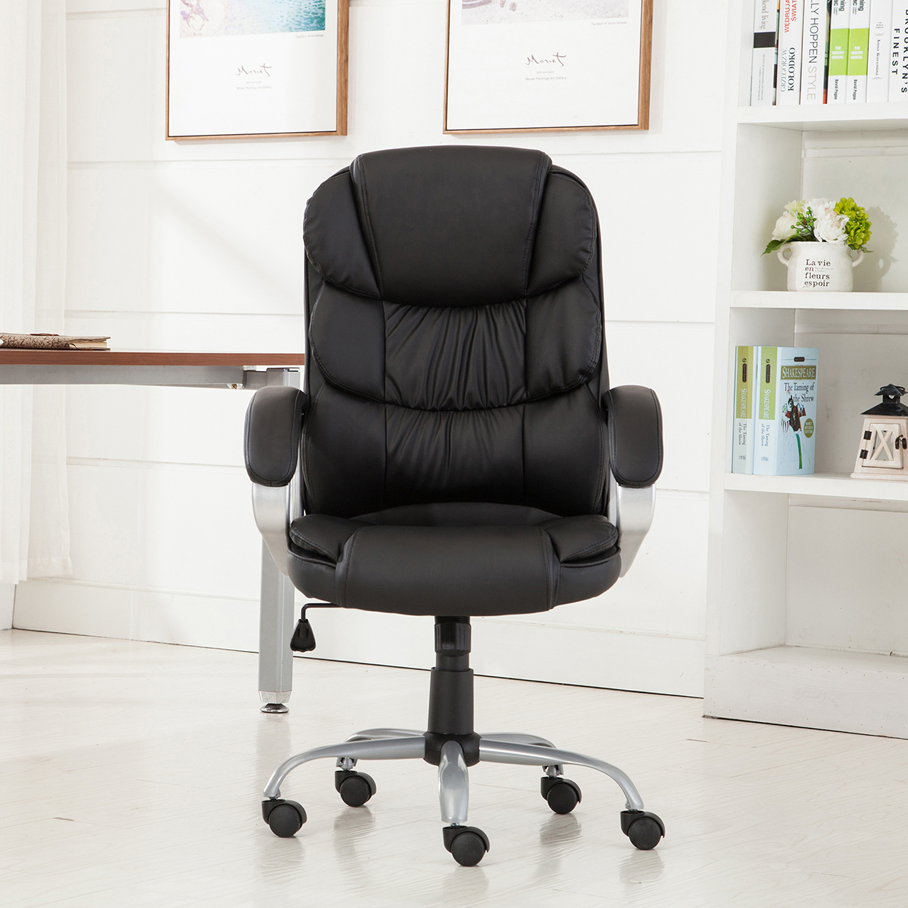 PU Leather Office Rolling Computer Chair Black Mocha High Back Executive Desk