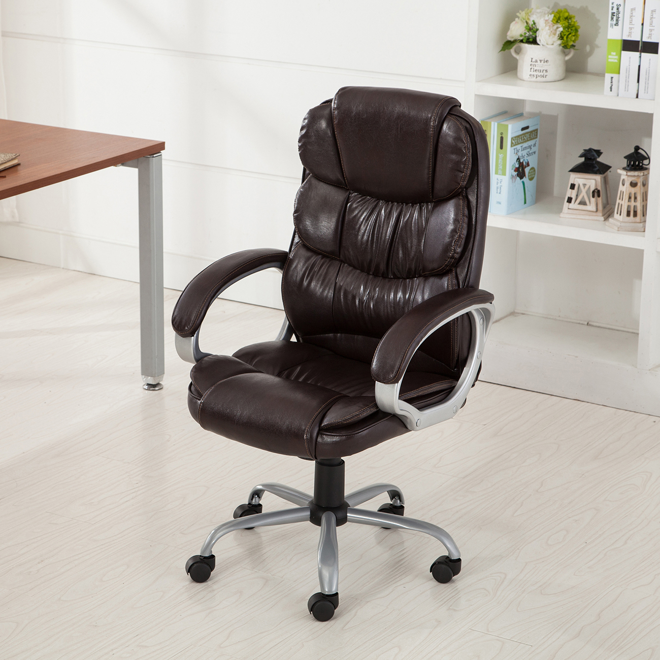 pu leather office rolling computer chair black mocha high