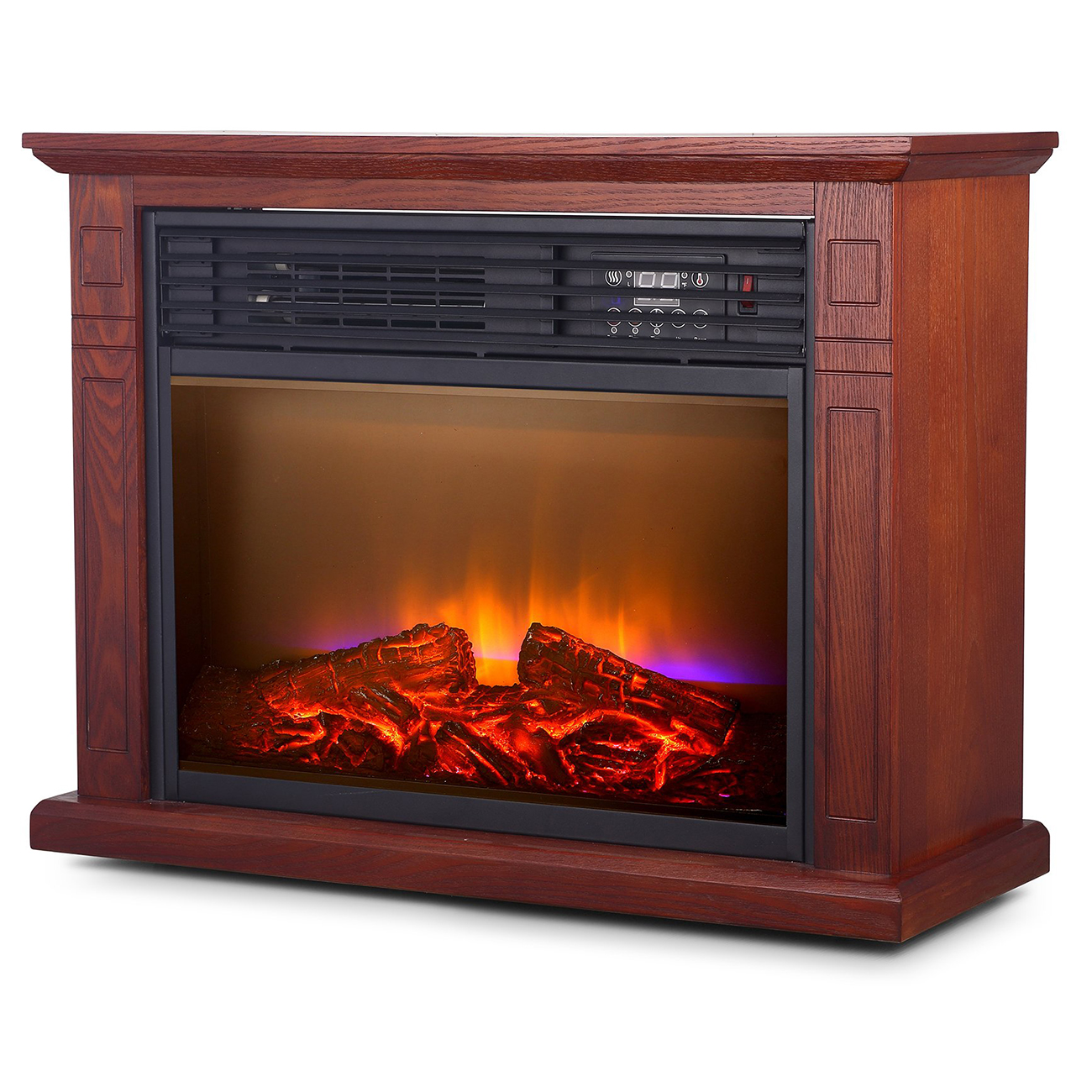 Electric Fireplace With Heat: Large Room Electric Quartz Infrared Fireplace Heater