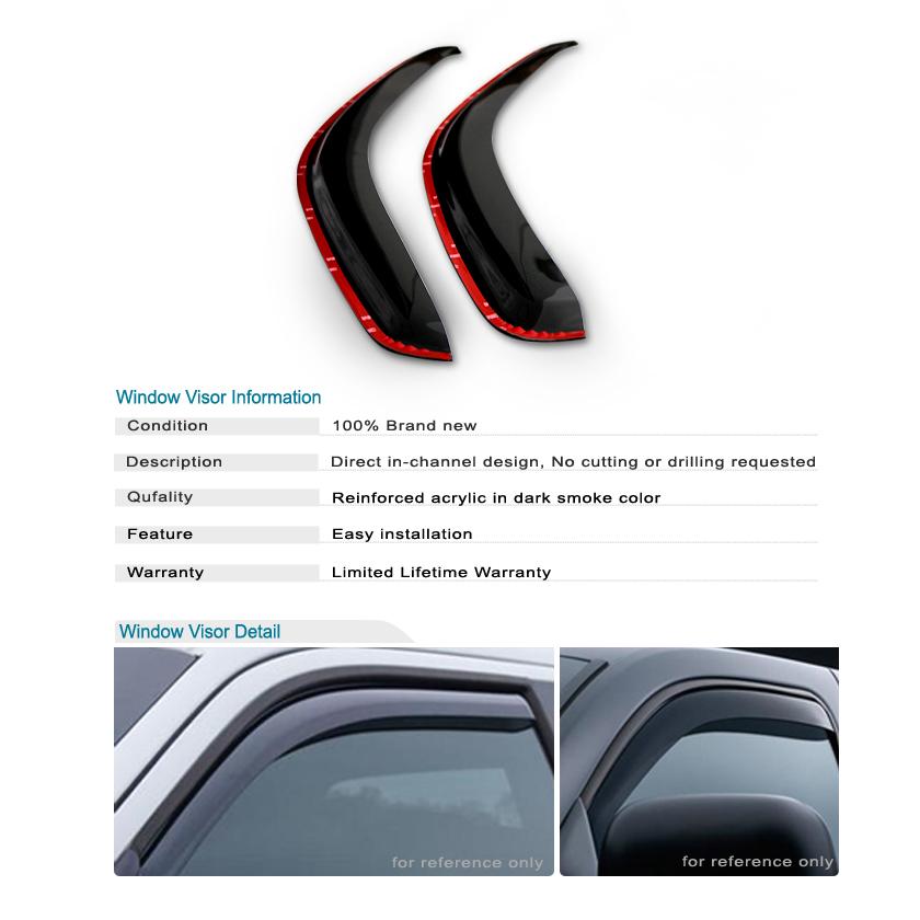 Chrome Window Vent Visors Rainguard Tap On For Dodge Ram: 94-01 Dodge Ram 1500 2500 3500 Smoke Window Vent Sun Shade